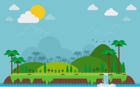 Island landscape in the flat style. Lake, meadows and the mountains, trees and birds