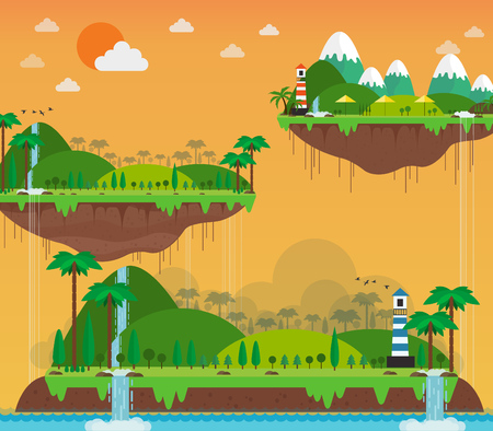 sunshine on island and mountain view. vector illustration