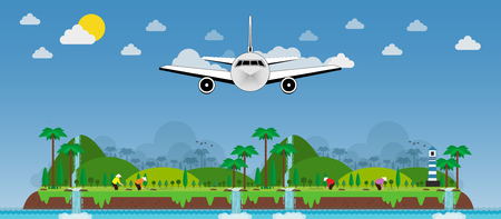 Airplane let's go and vietnamese planting rice on islands, green hills. vector illustration
