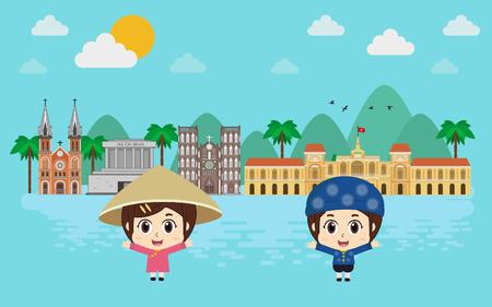 Kids Asian on tour in Vietnam, vector illustration Illustration