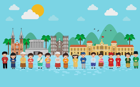 Asia People in Traditional Clothing holding Flag Illustration