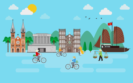 Boy with girl riding bicycle in Vietnam town. flat style Illustration