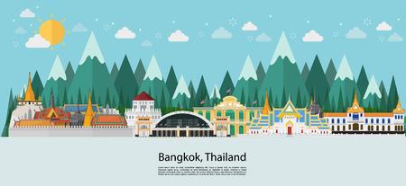 Bangkok in Thailand Landmarks and travel island vector Иллюстрация