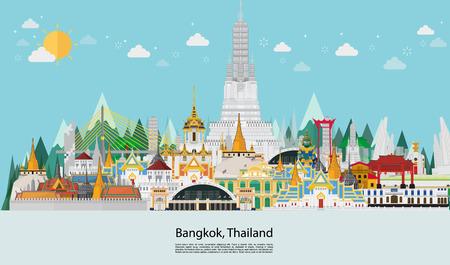 Thailand and Landmarks building. travel gold palace Illustration