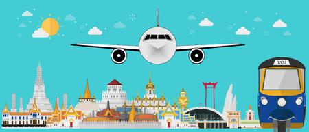 Thailand landmarks. flat design Иллюстрация