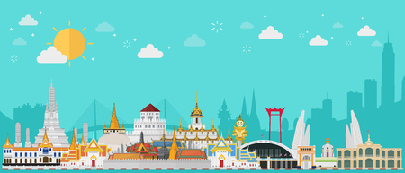 Thailand travel concept. The Golden Palace To Visit In Thailand in flat style