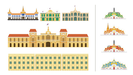 Thai traditional old building. flat design