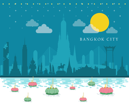Thailand with attractions, landmark. Loy Krathong Festival. vector Illustration 일러스트