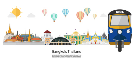 Thailand and Landmarks and travel place, island, mountain view. vector illustration