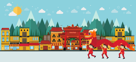 china town and red dragon dance. vector illustration