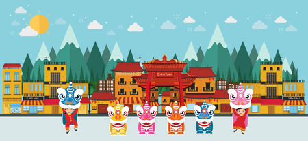 china town and lion dance