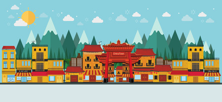 china town and mountain view