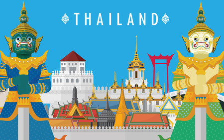 Guardian Giant in Thailand and Bangkok Grand Palace Illustration