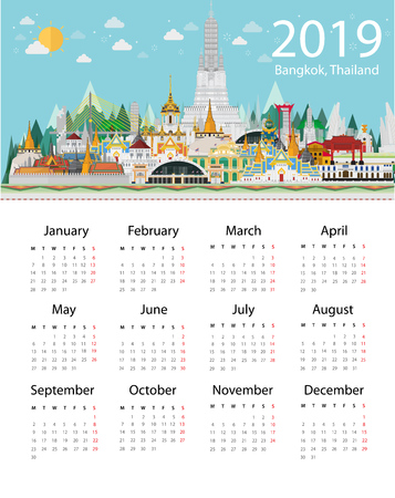 Welcome to Bangkok in Thailand and Landmarks and travel place,temple. Calendar 2019 design template Иллюстрация