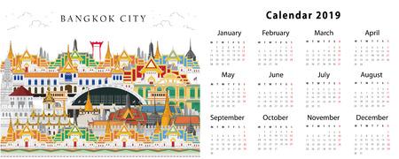 Calendar 2019. Bangkok, Thailand Çizim