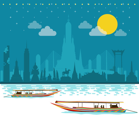 Private long tail boat tour Bangkok city Illustration