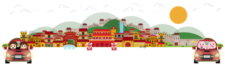 Travel to China town and old architecture. Vector illustration