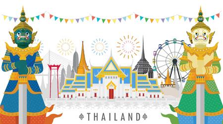 Guardian Giant en Tailandia y el Gran Palacio de Bangkok.
