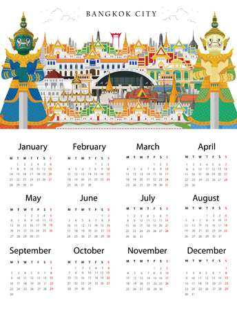 Calendar 2019. Celebrate in Bangkok and across Thailand. with attractions, landmark. vector illustration