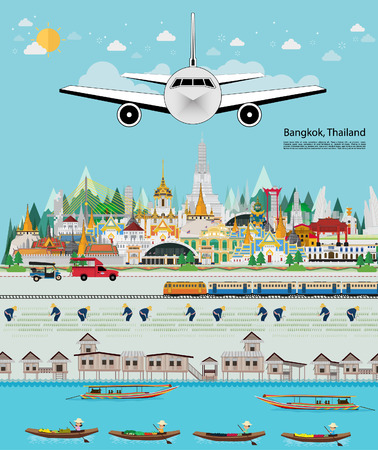 Welcome to Bangkok in Thailand and Landmarks and travel place,temple. flat design