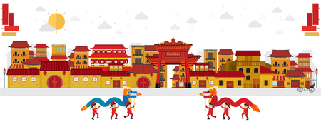 dragons dancing in china town