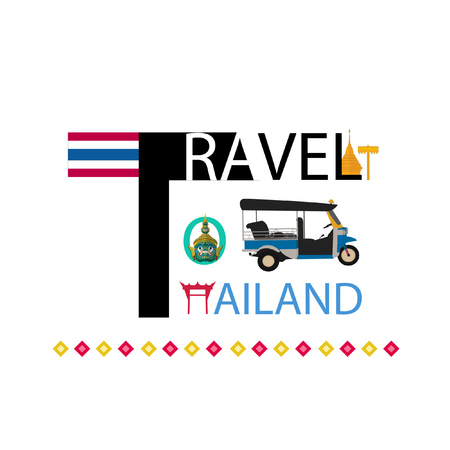 Travel to Thailand in flat style. Bangkok in and Landmarks. vector
