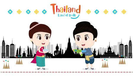 Little Kids celebrating in Songkran festival, Temple, Thailand. vector