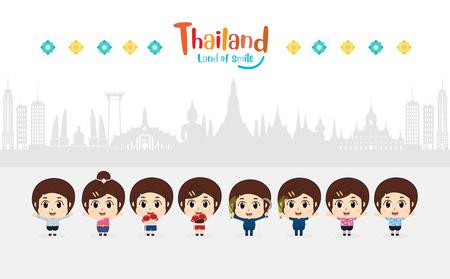Thai kids traditional costume in Thailand. vector illustration Çizim