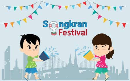 Kids playing to Songkran Festival in Bangkok in Thailand Çizim