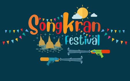 Songkran Festival at Thailand 2019, vector template