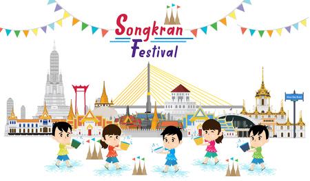 Kids celebrating in Songkran festival 2019, Temple, Thailand