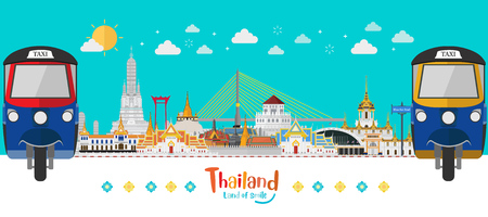 Thailand with attractions, land of smile, Taxi Thai and landmarks and travel place, temple. Vector