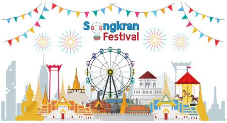 Thailand travel building in Songkran festival. Flat design