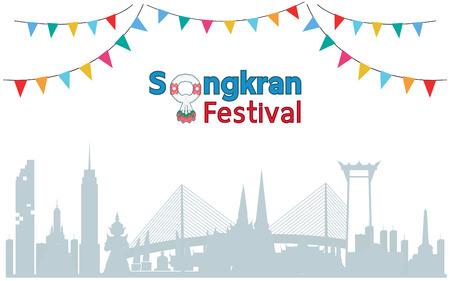 Thai Traditional New Year, Songkran Festival in Bangkok. Vector template