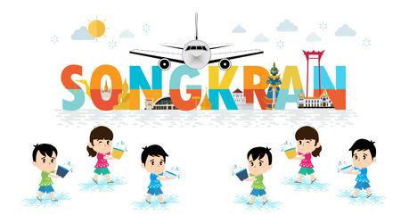 Kids celebrating in Songkran festival, Thailand Çizim