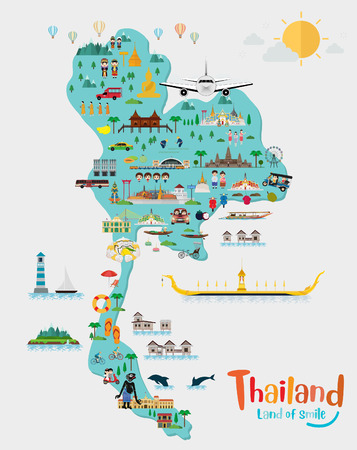 Travel to Thailand and Thailand map, Landmarks and travel place, temple. vector illustration