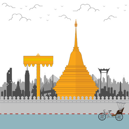 Thailand travel with northern culture. vector illustration