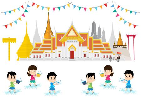 Kids celebrating in Songkran festival, Old Temple. Bangkok, Thailand
