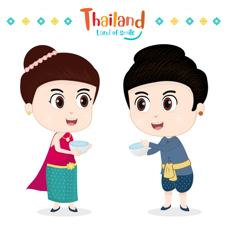 Thai traditional costume and Happy Songkran festival in Thailand
