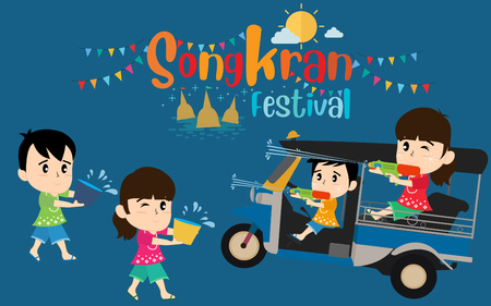 Thailand New Yea. Thai people celebrating and drive thailand taxi vintage. vector illustration