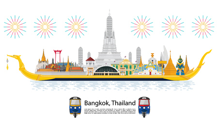 The Royal Barge Suphannahong in Thailand and Landmarks, Calendar template design Illustration