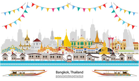 Thailand festival and The golden palace, long tail boat  to visit in thailand in flat style