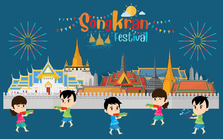 Songkran festival, Thailand New Year, Illustration of people celebrating