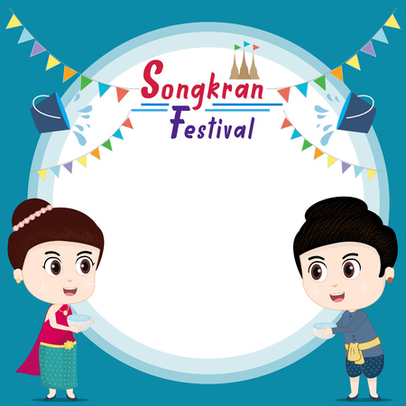 kids playing and Songkran festival. background template