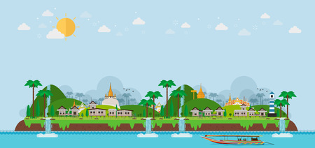 Tropical island. paradise ocean landscape and fishing village, vector background