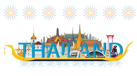 Thailand travel. The Golden Palace To Visit In Thailand in flat style