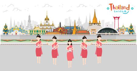 Thai Women Traditional dancing. Bangkok in Thailand and Landmarks and travel. vector illustration