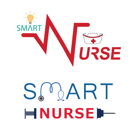 Smart nurse and Medical concept. Vector illustration Çizim