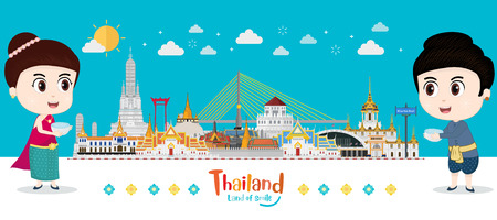 Travel to Thailand. kids traditional costume and celebrating in Songkran festival, Taxi Thai, landmark place. flat design