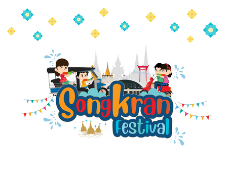 Kids Playing Water and Thai Traditional New Years Day, Taxi Thailand. vector illustration